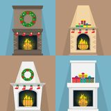 Set of fireplaces, with Christmas attributes socks, gifts, wreaths. Fireplaces of various shapes with the flame. Xmas Vector illus. Tration Stock Images