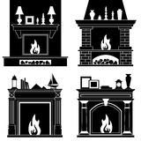 Set of fireplaces silhouettes. Vector illustration. Icons of different fireplaces isolated on white background Stock Image