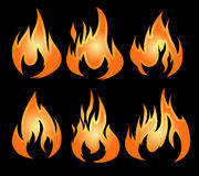 Set of 6 fires Stock Photo