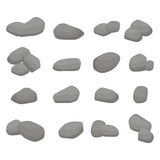 Set Firewood. Big Collection of Grey Stones. Set Firewood. Sixteen grey stones collection: eight single stones, seven couples of stones and one bunch of three Stock Images