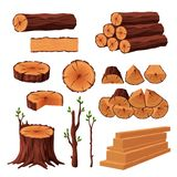 Set of firewood materials for lumber industry isolated on white background. Collection of wood logs stubs tree trunk. Branches boards. Stump and planks wooden stock illustration