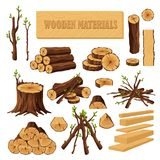 Set of firewood materials for lumber industry isolated on white background. Collection of wood logs stubs tree trunk. Branches boards. Stump and planks wooden vector illustration