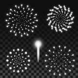 Realistic Silver Fireworks Isolated on Transparent Background. Set of Firework Explosions in Monochrome Grey Color. Vector Illustration for Web Design Royalty Free Stock Photos