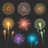 Set of Firework Illustrations. Vector illustration of fireworks in different shapes and colors Stock Photography