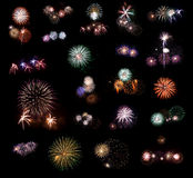 Set of fireworks #2. Royalty Free Stock Photos
