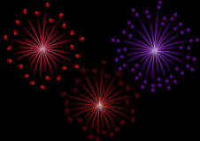 Set of fireworks. Fireworks set to glow with hearts and stars on a black background Stock Photo
