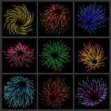 Set of fireworks Stock Photography