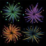 Set of fireworks on black background, stock vector illustration. Eps 10 Royalty Free Stock Image