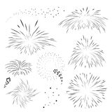 Set fireworks in black outline.. Explosion templates for holiday in vector Royalty Free Stock Images