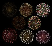 Set of Fireworks Stock Photos