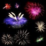 Set of fireworks. Set of colorful fireworks Stock Images