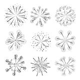 Set of fireworks design elements. Royalty Free Stock Images