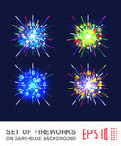 Set of fireworks of different colors. Vector EPS10 Stock Image