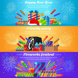 Set Fireworks. Different Kinds of Firecrackers Stock Image