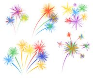 Set fireworks of different kinds. Vector design elements isolated on light background. royalty free illustration