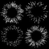Set of 4 fireworks, explosion elements. Radiating lines in rando. M, irregular fashion - Royalty free vector illustration Royalty Free Stock Photography