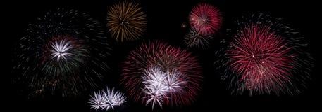 Set of fireworks explosions on black stock images