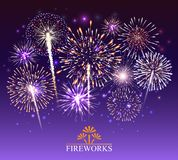Set of fireworks, festive banner, invitation to a holiday. Vector royalty free stock photo