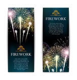 Set of fireworks, festive vertical banner, firecracker vector Royalty Free Stock Photography