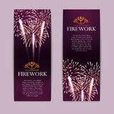 Set of fireworks, festive vertical banner, firecracker vector Stock Photo