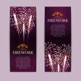 Set of fireworks, festive vertical banner, firecracker vector. Illustration Stock Photo