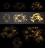 Set of  fireworks. Set of  golden fireworks on black and transparent backdrop - vector Royalty Free Stock Images