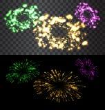 Set of  fireworks. Set of  golden fireworks on black and transparent backdrop - vector Royalty Free Stock Photography
