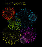 Set of fireworks illustrations Stock Images