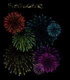 Set of fireworks illustrations Stock Images