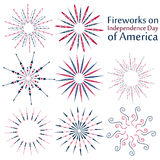 A set of fireworks on Independence Day of America. Colorful fireworks set  on white background. Vector illustration Royalty Free Stock Images
