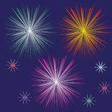 Set of fireworks in the night sky. Drawing set of  three festive fireworks and five different color stars in the night dark blue sky Stock Photo