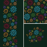 Set of fireworks seamless pattern and borders Stock Image