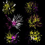 Set of fireworks silhouette. Colorful vector illustration. Set of fireworks silhouette. Colorful vector illustration Stock Image