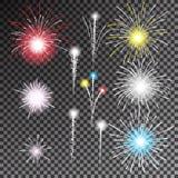 Set of   fireworks. On transparent background.Vector illustration Stock Photos