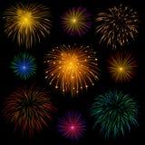 Set of fireworks. Set of various bright celebratory fireworks, on transparent background Stock Photography