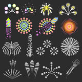 Set of fireworks. Vector design elements. For christmas and new year. Celebration and event concept. Flat style.  illustrations Stock Photography