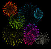 Set of fireworks vector illustrations. Set of fireworks illustrations on black background Royalty Free Stock Images
