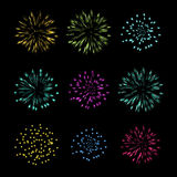 Set of Fireworks, vector object Royalty Free Stock Images