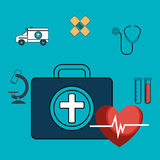Set first aid kit services medical isolated Stock Photos