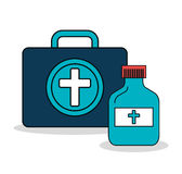 Set first aid kit services medical isolated Stock Image