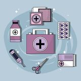 Set first aid kit with treatment tools. Vector illustration Royalty Free Stock Photography