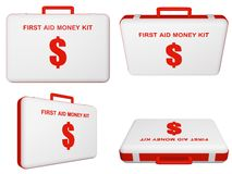 Set of first aid money (dollar) kit. Stock Image
