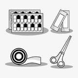 Set first aid tools to help people. Vector illustration Royalty Free Stock Images
