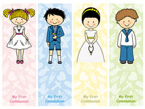 Set first communion. Invitation card for first communion girl and boy Royalty Free Stock Photos
