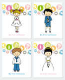 Set first communion. Communion invitation cards for boy and girl Stock Image