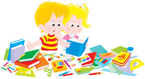 Set of first-graders. Vector illustration of children who collect textbooks, exercise books and other school supplies for the first grade of primary school Stock Photo