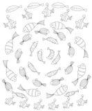 Set Fische Seitenfarbton für Erwachsene lizenzfreie abbildung