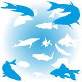 Set of fish. Illustration of different fish over blue royalty free illustration