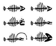 Set of fish bones, vector illustration Stock Images