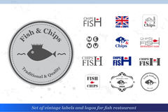 Set of fish and chips labels and badges for fish restaurant styl Royalty Free Stock Photo